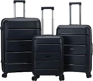 Rockland 3-Piece Hardside Spinner Wheel Luggage Set, BLACK, (19/23/27)