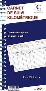 ELVE 64891 Bloc Spirale Carnet de Suivi Kilométrique 50 Dupli Dos en Carton Rigide 550 Trajets 297 x 140mm Papier Assorties