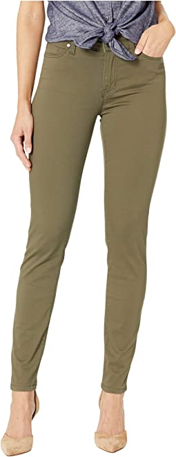 Abby Skinny Jeans in Stretch Peached Satin in Olive Night