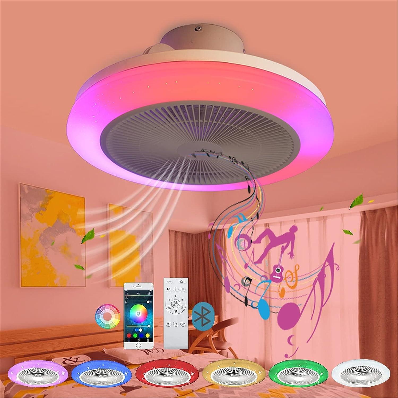 48CM Ventilador de Techo con Luz y Mando a Distancia/App Silencio Moderno LED Regulable Ventiladores de Techo con Lampara RGB Música Bluetooth Altavoz Lámpara de Ventilador Smart Plafon Iluminación