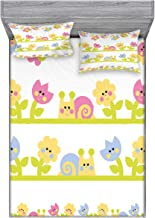 Ambesonne Tulip Bedding Set with Sheet & Covers, Cartoon Character Bees Tulip and Daisy Flowers Snails Garden Pattern, Printed Bedroom Decor 2 Shams, Full, Pale Green Baby Blue