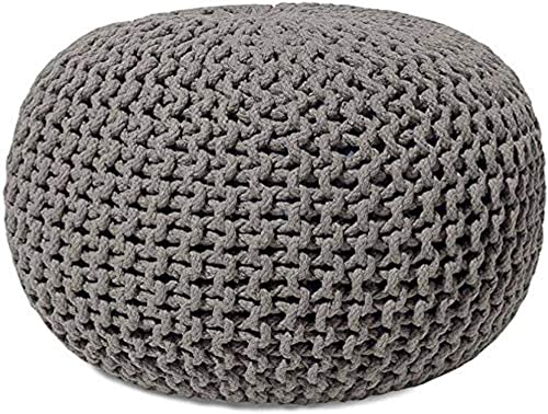 Dry Fab Home Pouf Puffy For Living Room Sitting Round Ottoman Bean Filled Stool For Foot Rest Home Furniture Rope Twisted Bean Bag Design 14 Inch Height Gray