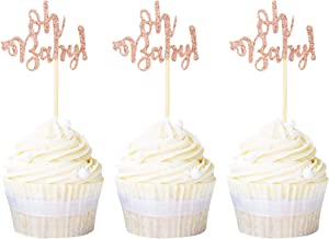 Ercadio 24 Pack Oh Baby Cupcake Toppers Rose Gold Glitter Baby Shower Cupcake Picks Boys Girls Birthday Party Cake Decorat...