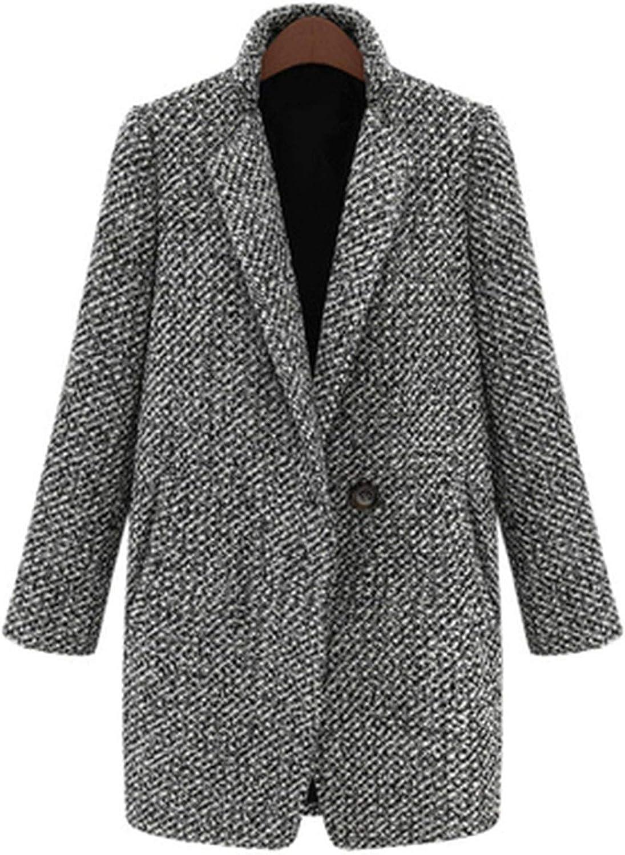 Spring Winter Women Coat Houndstooth Wool Blend Coat Single Button Pocket Oversize