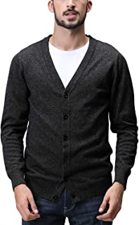 Matchstick Men's Button Through V Neck Knitted Cardigan #Z1522(Heather Charcoal,UK S (Asian tag Size L))