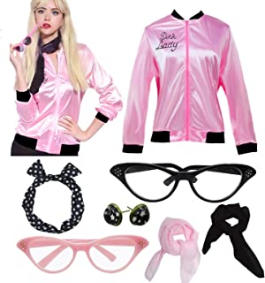 Dancing Stone Womens Grease Pink Ladies Satin Jacket Costume with 50s Accessories Set