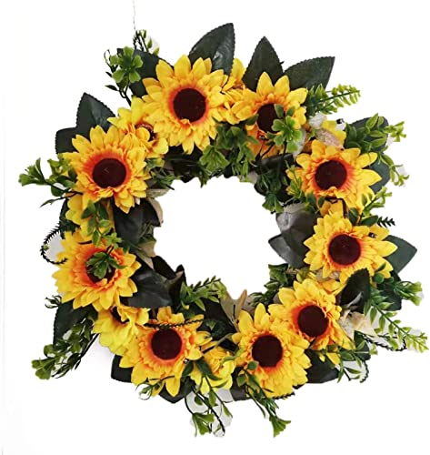 """wholesale Artificial Sunflower Wreat with Light, Spring Decorative Floral Swag outlet sale Wreath with Green Leaves Twig and Easter Eggs, Hanging Arch Garland outlet online sale for Wedding Wall Door Decoration, 16"""" outlet online sale"""