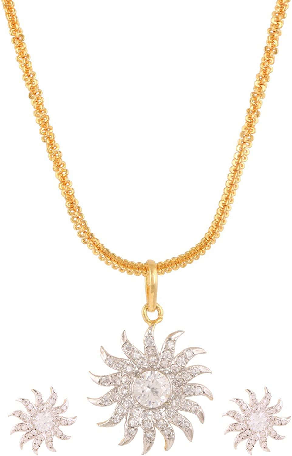 Efulgenz Indian White Fashion Pendant Necklace with Chain and Earrings Jewelry for Girls/Women
