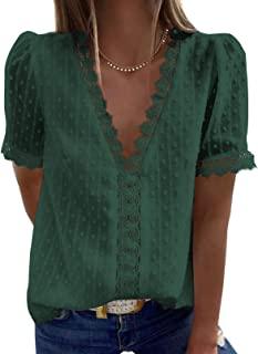 Elegancity Damen Bluse Spitzen Hemd V Ausschnitt Elegant Kurzärmel Tunika Dame Blusen Tops Oberteile S-2XL