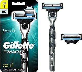 تیغ ، دسته و 2 تیغه مردانه Gillette Mach3 (بسته بندی ممکن است متفاوت باشد)