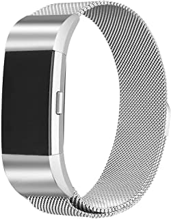 for Fitbit Charge 2 Large Watch Band, Milanese Loop Mesh Stainless Steel Replacement Strap with Magnetic Closure - Silver