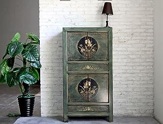 OPIUM OUTLET Armario Comoda Alta Chino Coloreado Asiatico Vintage Oriental Madera Dormitorio Salon Verde