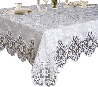 "Violet Linen Elegant Velvet Lace Sheer Floral Deluxe Design Tablecloths, 67"" x 144"", White"