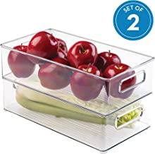 InterDesign 70530M2EU Refrigerator and Freezer Storage Organizer Bins for Kitchen 2, 36.83 x 20.32 x 10.16 cm, Set of 2, Clear/ 2-pack, Medium