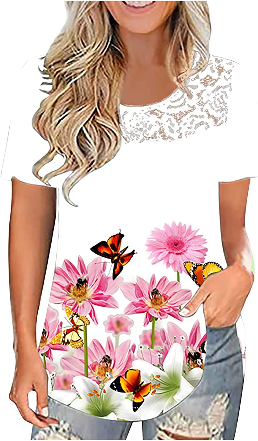 Women's Print Short Sleeve Outlet ☆ Free Shipping T-Shirts O-Neck High quality new Floral Grap Butterfly
