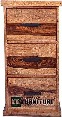 KINGWOOD FURNITURE French Style Sheesham Wood Chest of 3 Drawers (Standard, Glossy, Yellow, Honey)