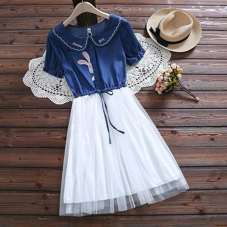 夏の甘いかわいい人形の襟デニム刺繍ウサギステッチ半袖ドレス婦人服 (Color : Deep blue, Size : L)