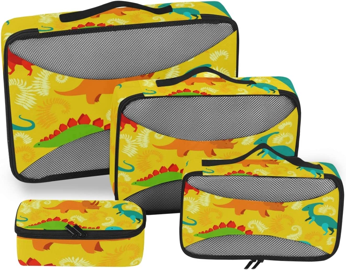 4 Set Packing Cubes with Toiletry Dinosaur Bag Tulsa New Free Shipping Mall - Yellow L Travel