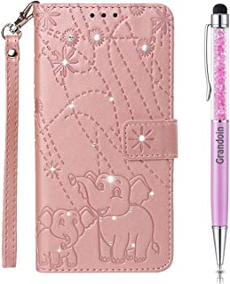 Lucifa Case for Huawei P8 Lite 2017 / Honor 8 Lite,[Elephant Series] Bling Sparkly Diamonds Gems Premium PU Leather Magnetic Flip Cover with Card Holders Wallet Case Full Protection (Pink)