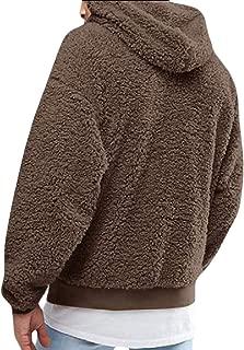 Mens Fuzzy Sherpa Pullover Hoodie Long Sleeve Sport Front Pocket Fall Outwear Sweatshirts