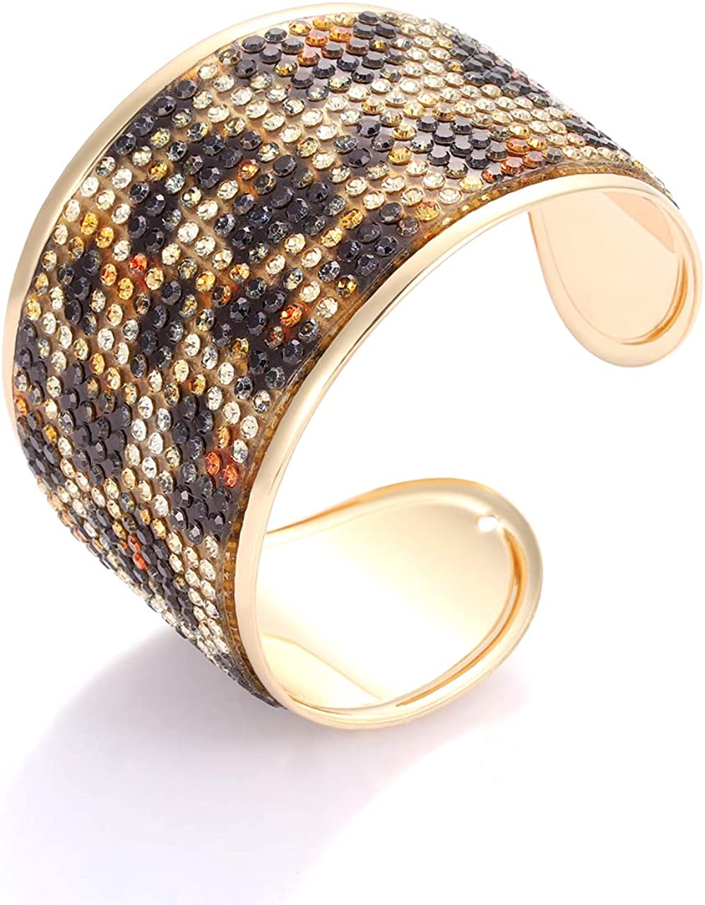 ZITULRY Leopard Print Cuff Bracelet for Women Resin Cheetah Prin