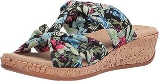 Easy Street Women's Wedge Sandal, Black Multi Fabric, 9 X-Wide