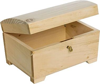 Creative Deco Petite Boîte en Bois avec Fermeture à Clé | 20 x 14 x 12,5 cm | Clé Incluse | Coffret à Décorer | Parfait pour