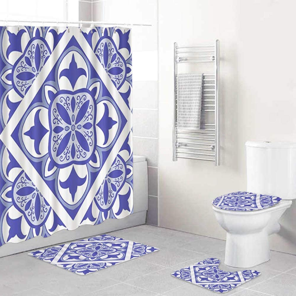 LONSANT 4Pcs Shower Curtain Sets Alternative Albuquerque Mall dealer Chinese Rug Cultu Non-Slip with