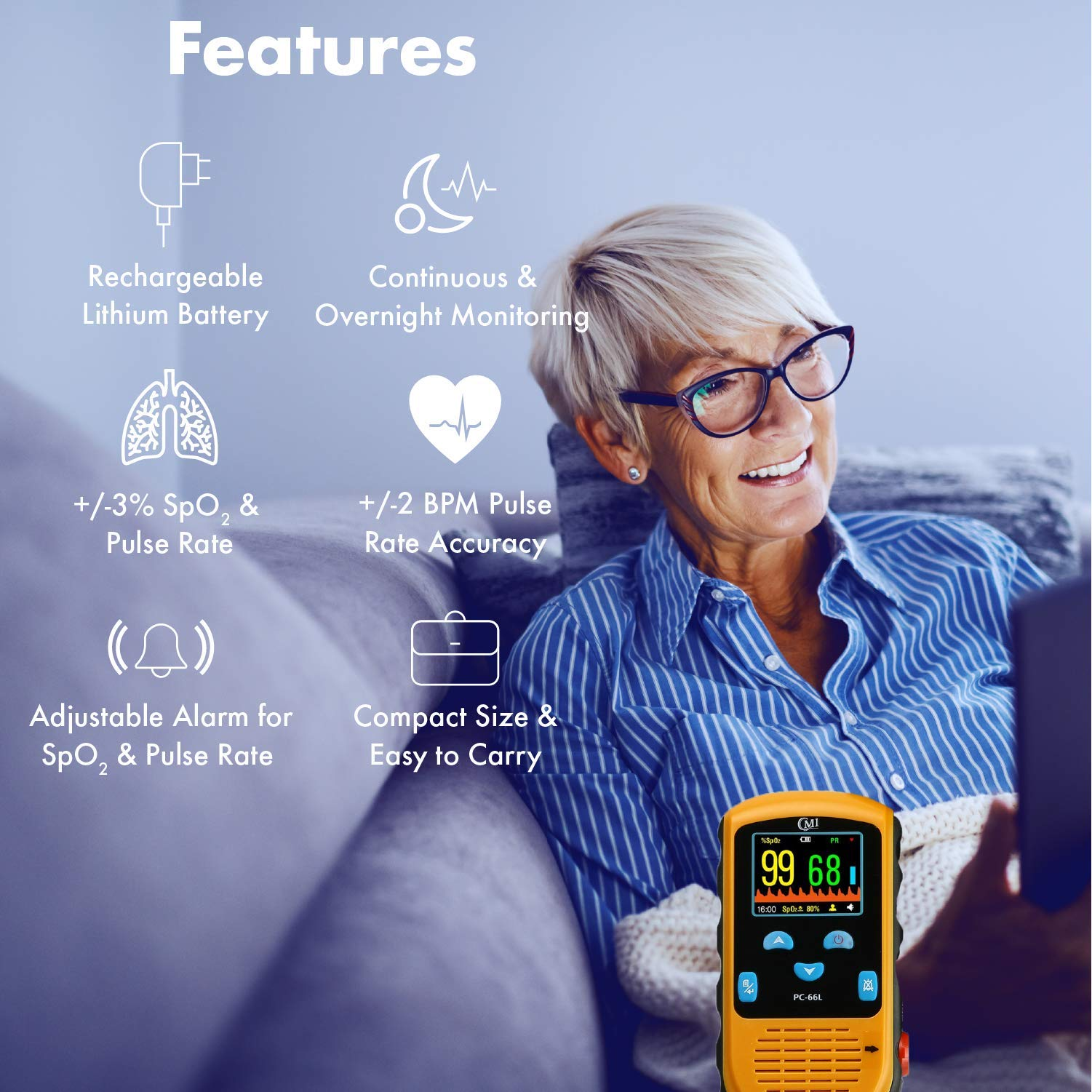 CMI Health Rechargeable Pulse Oximeter - Adult Finger Sensor for Continuous Monitoring & Spot-Checking - Adjustable Alarm for Pulse Rate and SpO2 Levels - Carry Case, AC Adapter Included