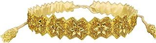 Duchess Floral Golden Hand Embellished Cloth Waist Saree Belt and Kamarbandh for Women