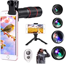 Phone Camera Lens, Wide Angle & Macro Lens (Screwed Together) and 230°Fisheye Lens for iPhone,Cell iPhone Lens Kit for Android iPhone X XR XS Max 8 7 6S Plus Samsung S9 S8 (Phone Lens kit)
