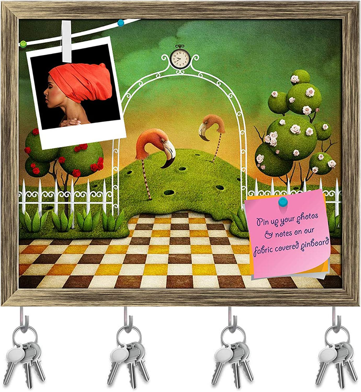 Artzfolio Flamingo & Trees with pinks Key Holder Hooks   Notice Pin Board   Antique golden Frame 19 X 16Inch