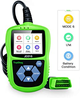 JD316 Support Mode 6 OBD2 Scanner Automotive Car Engine Fault Code Reader CAN Diagnostic Scan Tool with Battery Condition Test(Green)