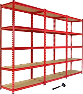 Monster Racking - 3 Rayonnages Z-Rax en Acier Sans Boulons Rouges 90cm x 183cm x 45cm
