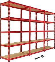 3 x Z-Rax Stellingkasten - 90x45x183 cm - Rood - 100% boutloos - Draagkracht: 360 kg per plank - opbergrek metaal