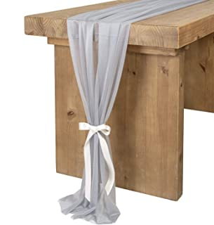 Ling's moment 10Ft Gray-Blue Sheer Table Runner for Rustic Boho Wedding Party Bridal Shower Decorations