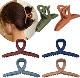 Whaline Hair Claw Clip 6 Color Hair Jaw Clamp Clips 4.3 Inch Nonslip Hair Claw Strong Hold Matte Butterfly Clip Clamp Hair...