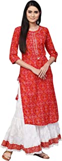 Ishin Women's Cotton Red & White Printed With Gota Patti A-Line Kurta Skirt Set