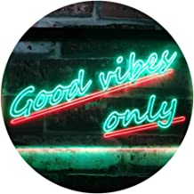 Good Vibes Only Wall Plaque Night Light Dual Color LED Neon Sign Green & Red 400 x 300mm st6s43-i1077-gr