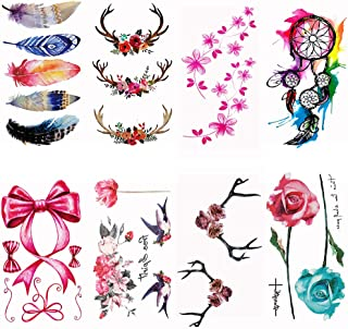 8 Sheets cute temporary tattoos by Yesallwas,Waterproof long lasting Fake Tattoos Stickers for for kids girls teens body tattoos (227)