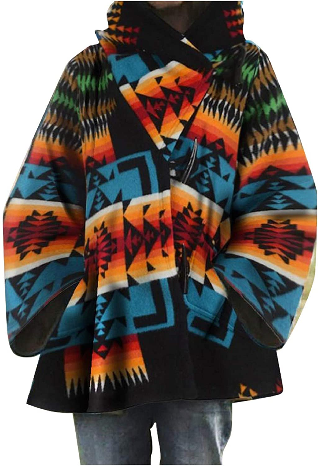 Amaeen Coats for Womens Retro Print Hooded Jackets Plush Woolen Overcoat Fashion Loose Autumn and Winter Tops