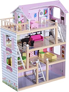 HOMCOM Casa de Muñecas con Muebles Mobiliario Casita Muñeca Jueguetes Madera con 13 Accesorios incluidos y 4 Niveles Color...