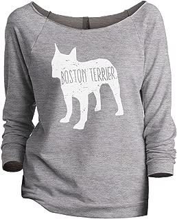 Boston Terrier Dog Silhouette Women's Slouchy 3/4 Sleeves Raglan Sweatshirt Sport Grey