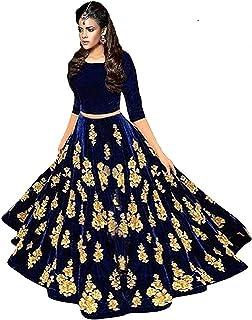 0a1848e15c Saptarangi Women'S Velvet Long Gown Skirt And Top (Bluebarry_Free Size)