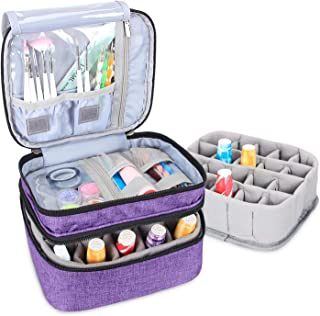 Luxja Nail Polish Carrying Case - Holds 20 Bottles (15ml - 0.5 fl.oz), Double-layer Organizer for Nail Polish and Manicure Set, Purple