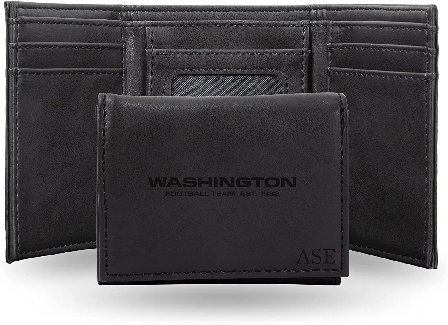 Rico Industries Laser Engraved NFL Washington Football Team Black Personalized Trifold Wallet : Sports & Outdoors