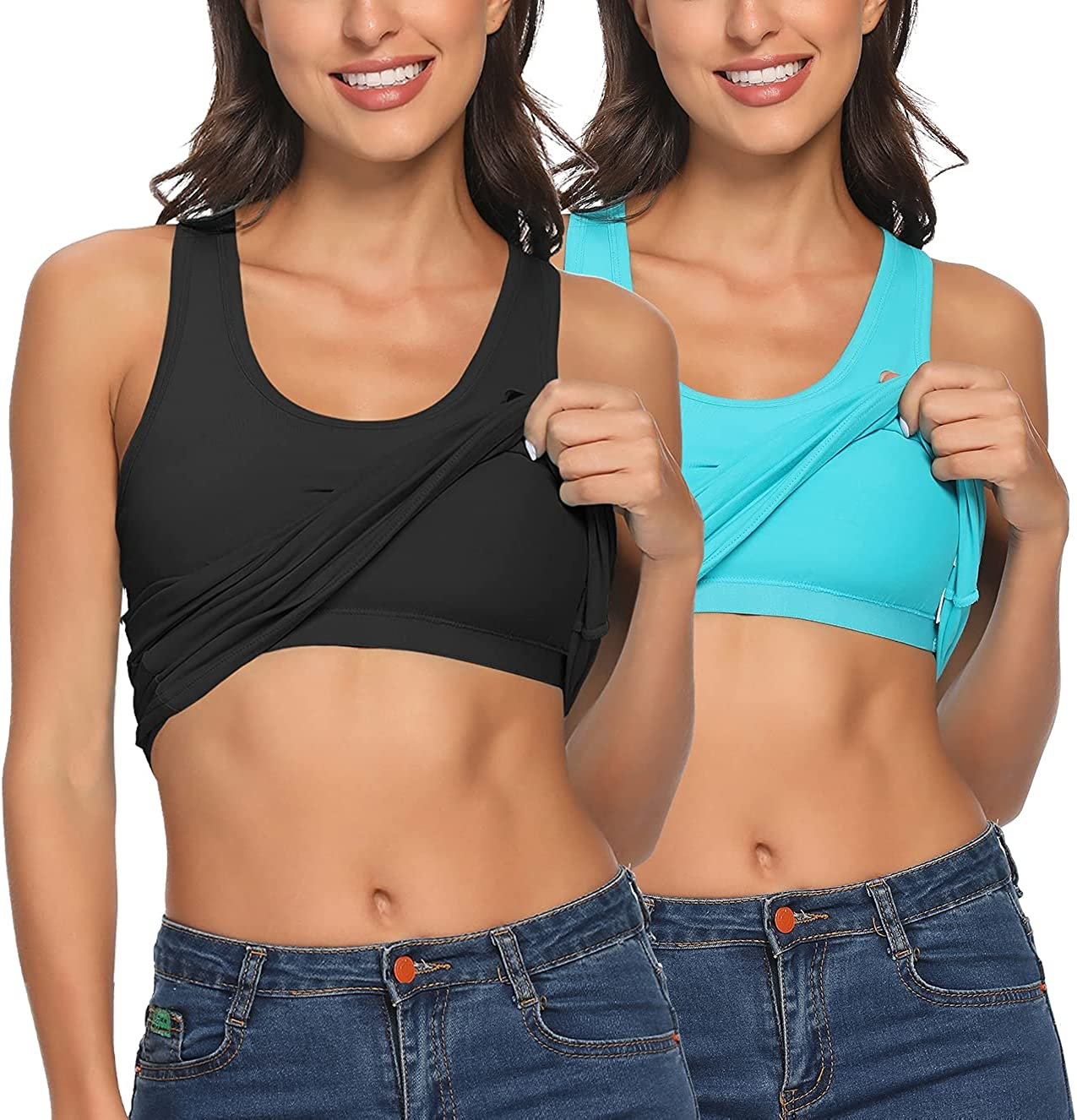Tank Tops for Women Camisole with Shelf Bra Adjustable Strap Cami Sleeveless Summer Top for Workout Sleeping Layering