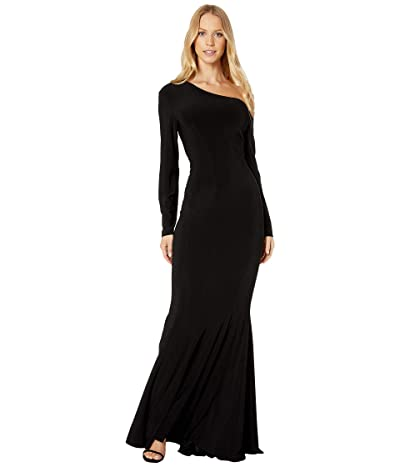 KAMALIKULTURE by Norma Kamali Long Sleeve Drop Shoulder Fishtail Gown (Black) Women