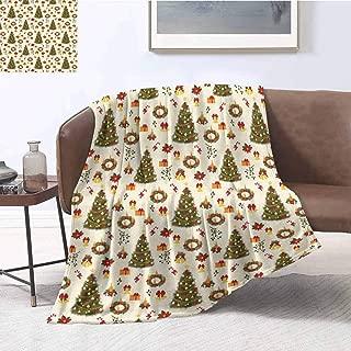 YOYI-Home Christmas Premium Velvet Fleece Bed Blanket Fir Tree Garland and Bells Festive Ornaments Xmas Themed Cartoon Seasonal Holiday Microfiber Fleece Throw Bed Blanket W60 x L80 Inch Multicolor