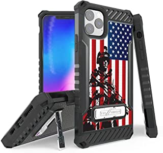 BC Tri Shield Series Military Grade (MIL-STD 810G-516.6) Impact Resistant Shockproof Case with Built-in Stand and Atom Cloth Compatible with iPhone 11 Pro Max - USA Soldier